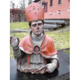 Buste d'évêque en bois...